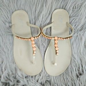 LOFT Jeweled Thong Sandals Coral Bronze Size 7
